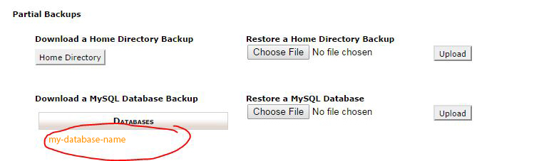 backup a database in cpanel