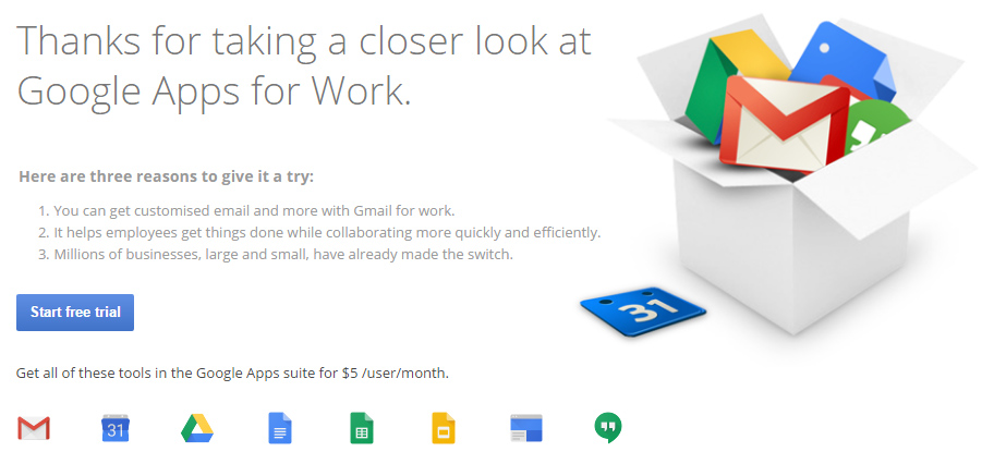 Google Apps for Work free trail