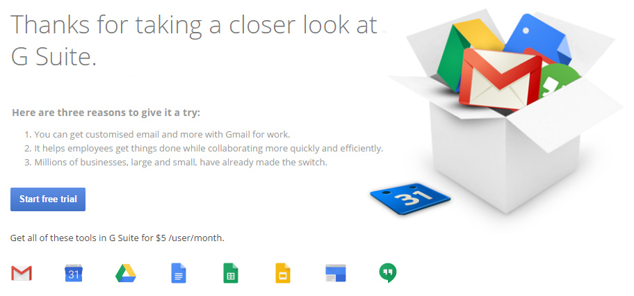 G Suite (Google Apps for Work) free trial